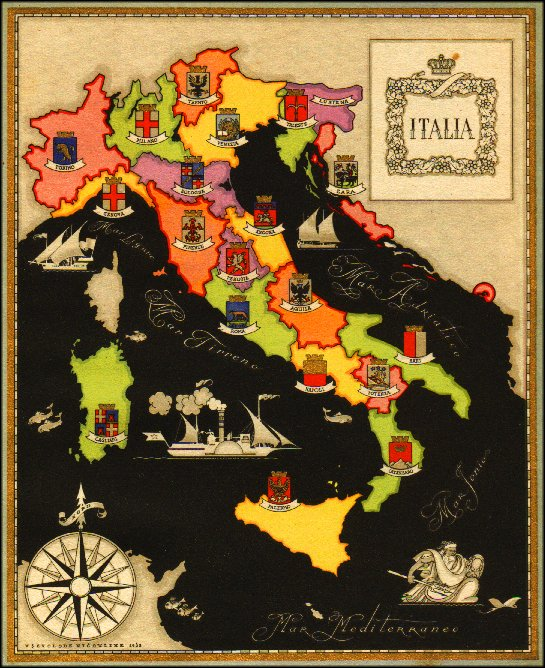 Italie: ses Frontières sur un Carte de 1941