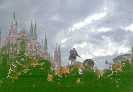 Milan: The Terzo Bersaglieri fanfare receiving the 100 000 black pens